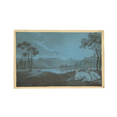 Rural Nightscape With Goats Mixed Technique On Cardboard 18th Century