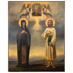 Russian Icon with Alexey - Man of God and Mary of Egypt
