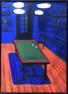 Russian Oil Painting POOL TABLE Contemporary Art, signed K billiards color field