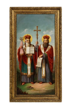 (Russian School, 19th Century) A Large Russian Oil Painting of Bishops