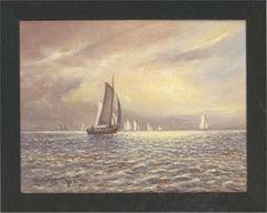 S. Barnes Robson (1900-1973) - 1968 Oil, Boats at Sea