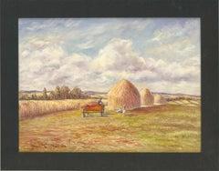 S. Barnes Robson (1900-1973) - 1969 Oil, Three Haystacks