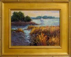 Safe Harbor, Plein Air Landscape Original Fine Art Gold Frame Oil on Linen Board