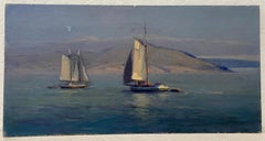 """""""Sailboats"""" Early 20th Century Impressionist Oil Painting"""