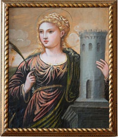 Saint Barbara — Cretan School Panel Painting