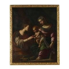 Saint Catherine's Mystic Wedding Oil on Canvas 17th Century