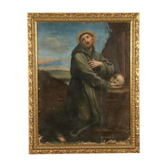 Saint Francis In Meditation Oil On Canvas 18th Century