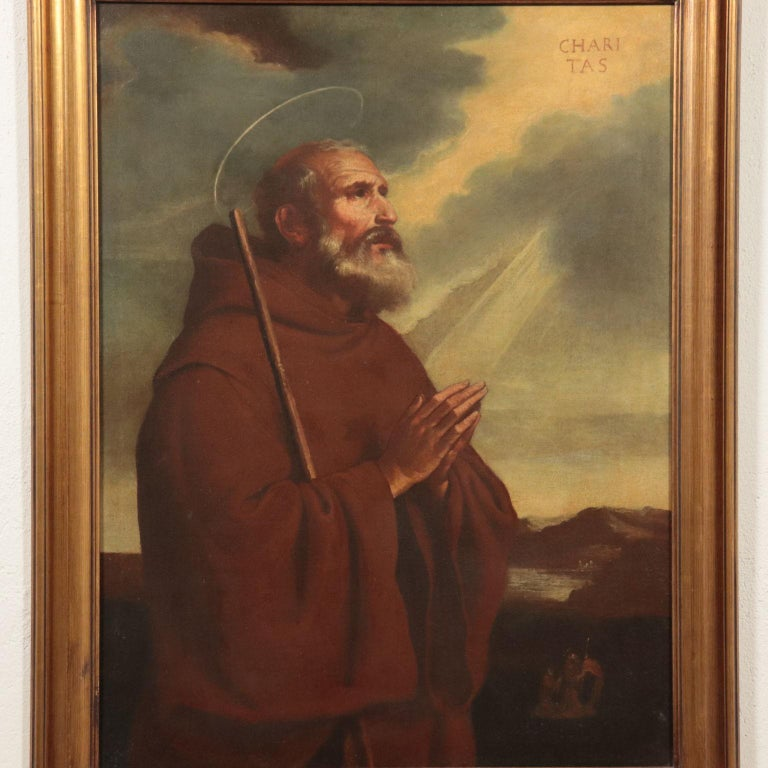 Saint Francis Of Paola Oil On Canvas 18th Century - Other Art Style Painting by Unknown