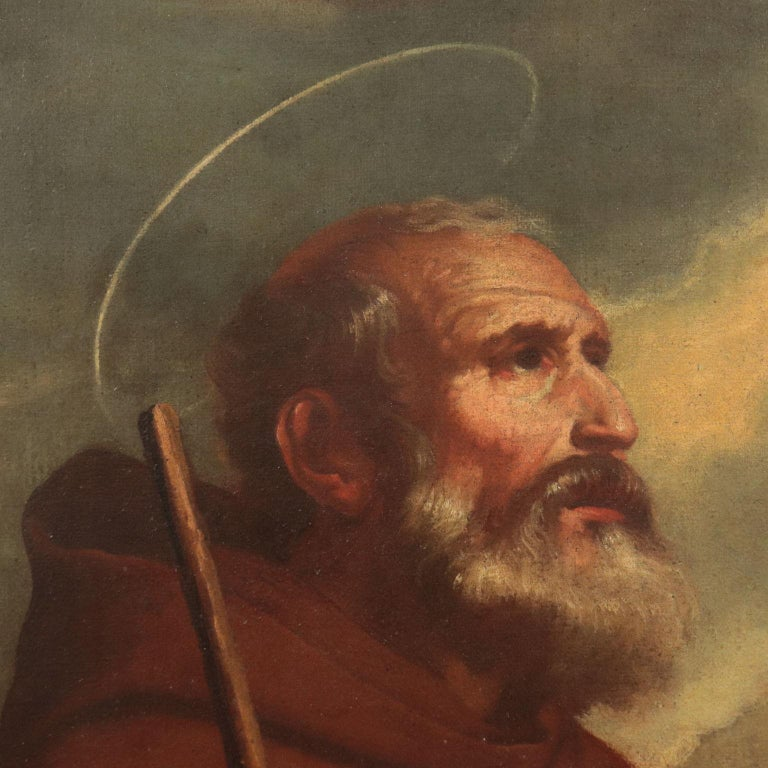 Saint Francis Of Paola Oil On Canvas 18th Century - Brown Portrait Painting by Unknown