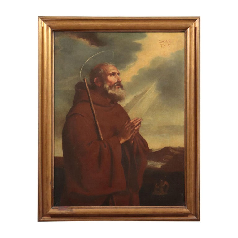 Unknown Portrait Painting - Saint Francis Of Paola Oil On Canvas 18th Century
