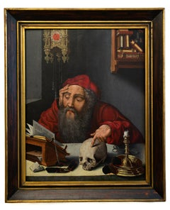 Saint Jerome in His Study, Painted by a Follower of Joos van Cleve, Oil on Panel