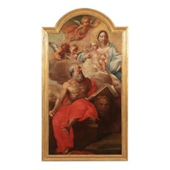 Saint Mark with Virgin Mary, Baby Jesus and Angels Oil on Canvas 1700