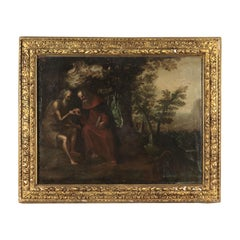 Saint Paul Hermit And Saint Anthony Abbot Oil On Canvas 17th Century