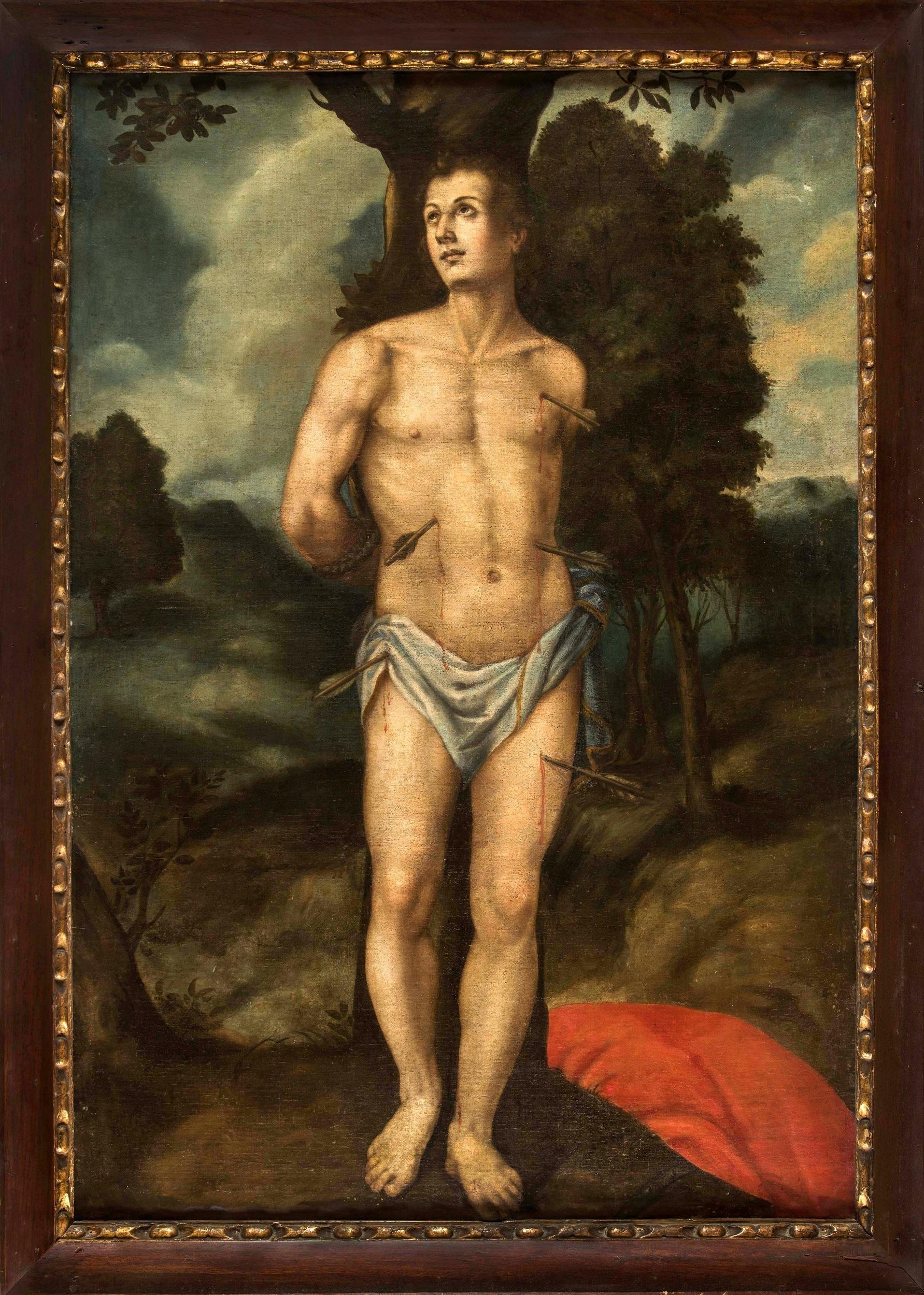 Saint Sebastian Antique Spanish School Oil on Canvas Religious Portait Painting