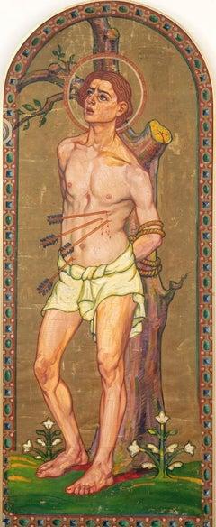 Saint Sebastian - Original Oil on Canvas by French Artist 20th Century