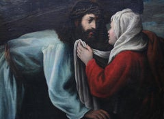 Saint Veronica Wiping Face of Christ - Italian 17thC art religious oil painting