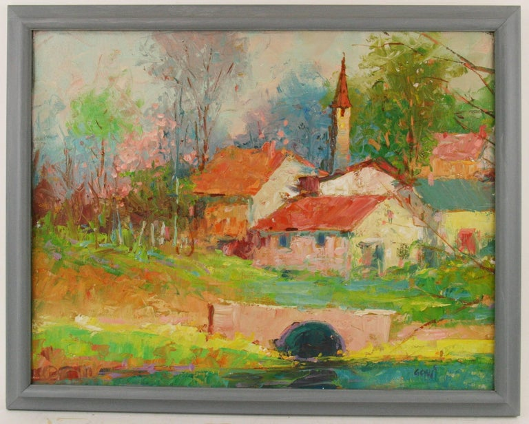 #5-102 A French village,  oil on canvas applied on wood board,displayed in a light blue wood frame, signed lower right by Govi`