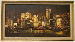 San Francisco Skyline at Night Original Oil Painting by Conger c.1950