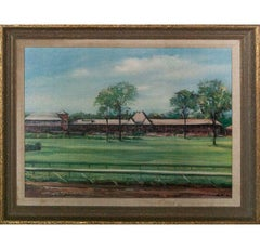 """Saratoga Grand Stand"" 1960 Giclee by Robert Roche (b1921-)"