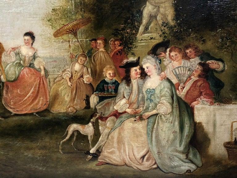 School of Jean-Antoine Watteau Fête Champêtre dans un Parc  - Painting by Unknown
