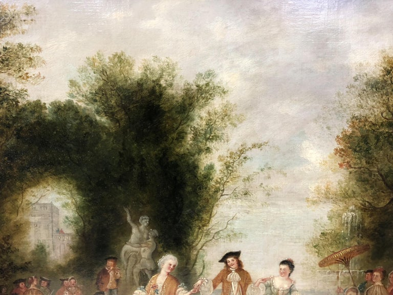 Follower of Jean-Antoine Watteau oil on canvas entitled Fête Champêtre dans un Parc depicting an idyllic outdoor party of French socialites. Given to