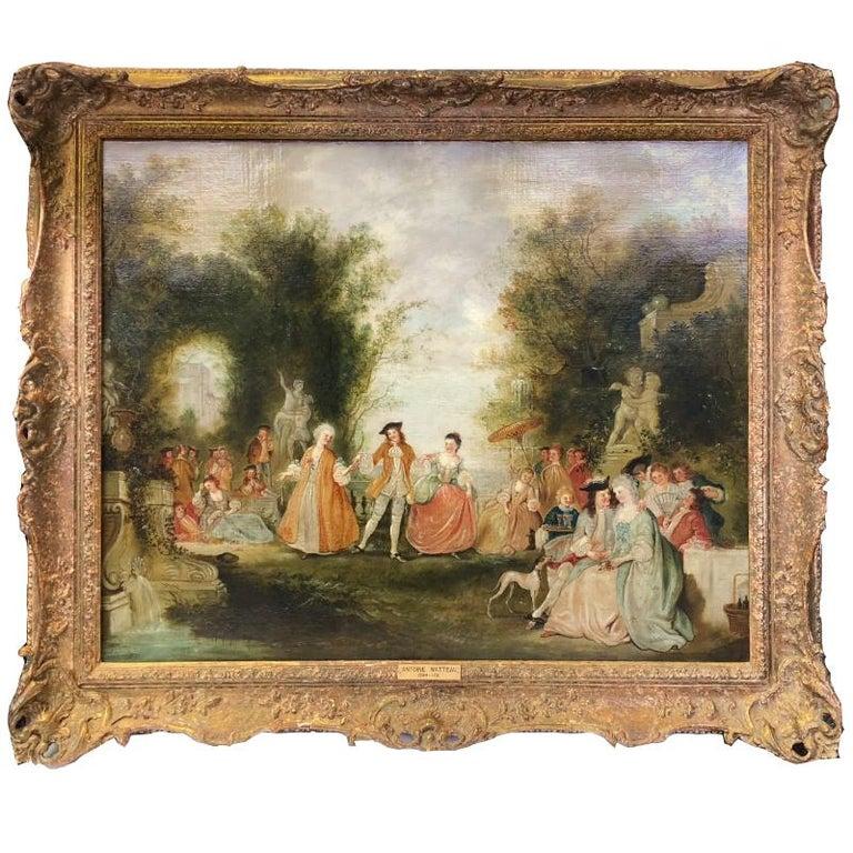 Unknown Figurative Painting - School of Jean-Antoine Watteau Fête Champêtre dans un Parc