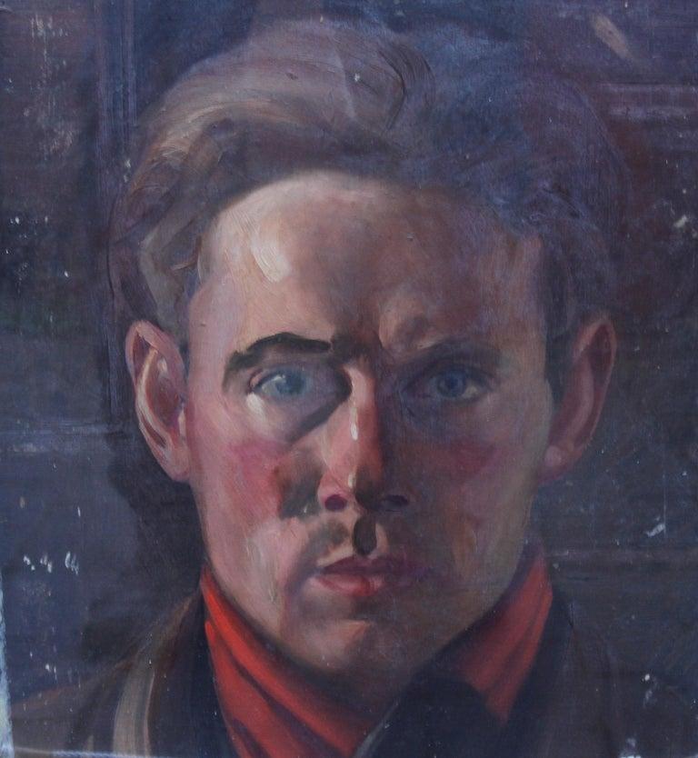 Schoolboy with Cricket Bat - British Slade School art 30's portrait oil painting 10