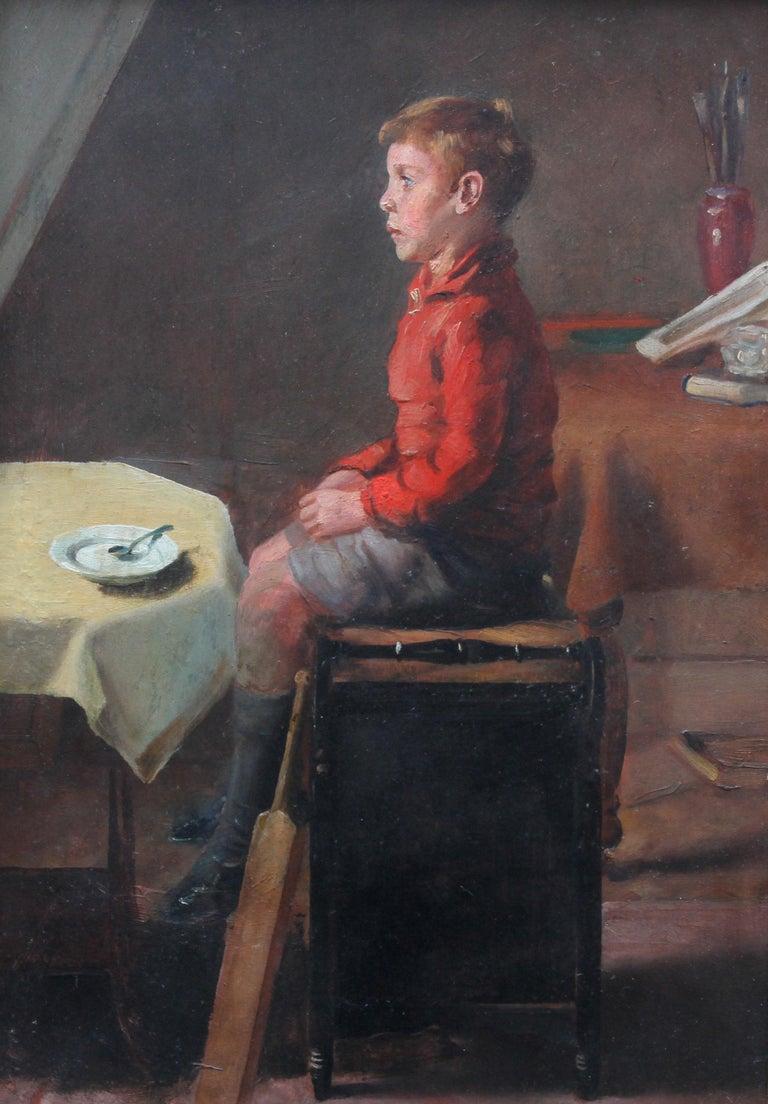 Schoolboy with Cricket Bat - British Slade School art 30's portrait oil painting 11