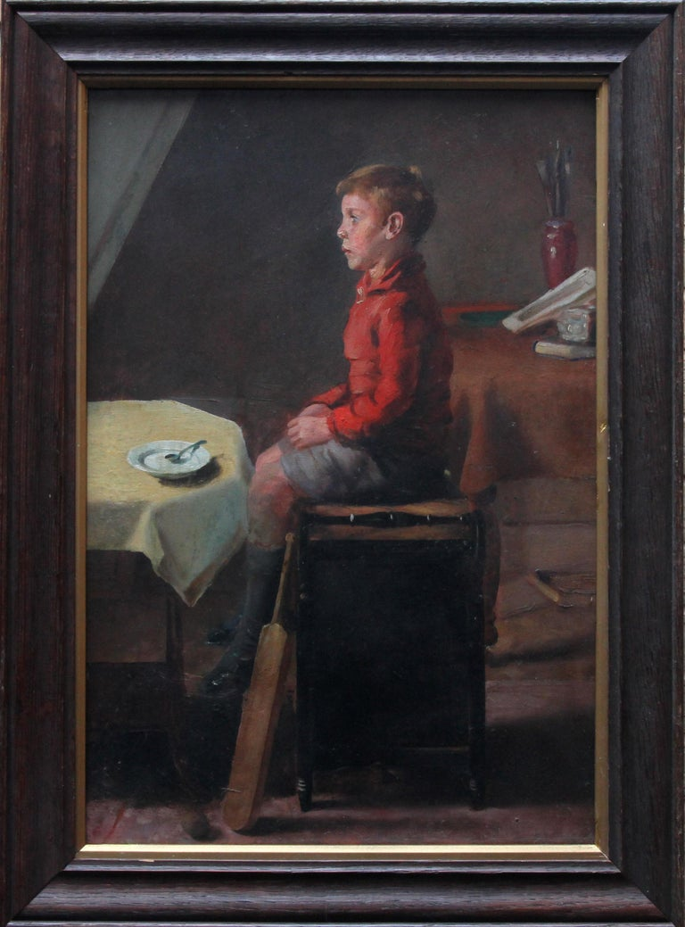Schoolboy with Cricket Bat - British Slade School art 30's portrait oil painting 12