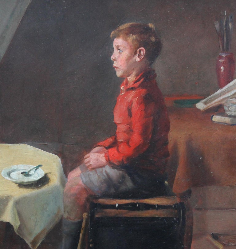 Schoolboy with Cricket Bat - British Slade School art 30's portrait oil painting 3
