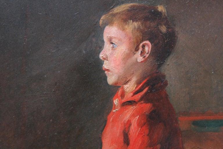 Schoolboy with Cricket Bat - British Slade School art 30's portrait oil painting 5
