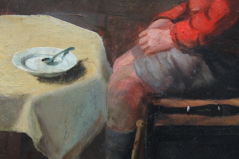 Schoolboy with Cricket Bat - British Slade School art 30's portrait oil painting 6