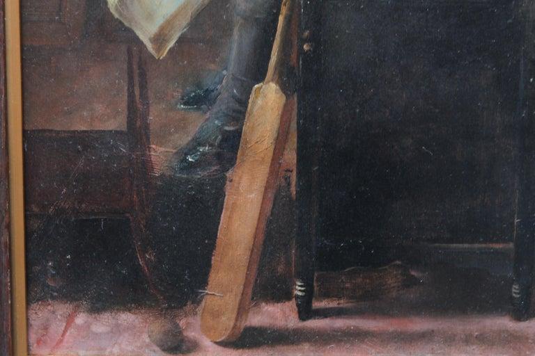 Schoolboy with Cricket Bat - British Slade School art 30's portrait oil painting 7