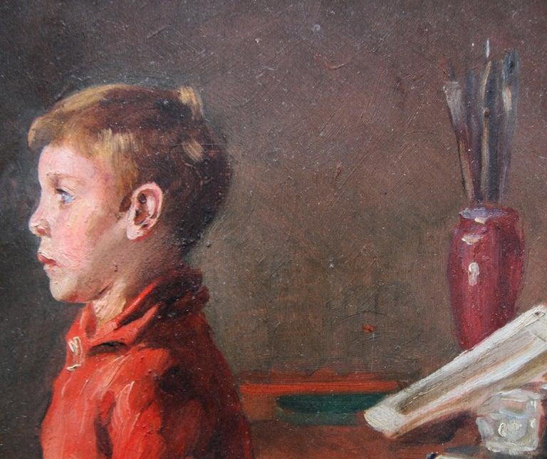 Schoolboy with Cricket Bat - British Slade School art 30's portrait oil painting 9