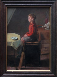 Schoolboy with Cricket Bat - British Slade School art 30's portrait oil painting