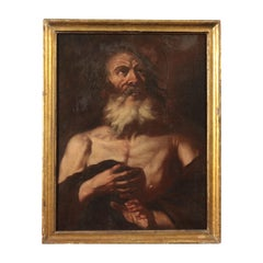 Scope Of Francesco Fracanzano Oil On Canvas 17th Century, Penitent Saint
