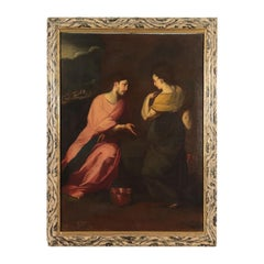 Scope Of Giovan Battista Crespi Oil On Canvas, Christ And The Samaritan Woman