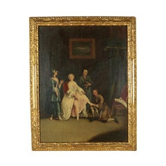 Scope Of Pietro Longhi Oil On Canvas Second Half '700, Trying on the shoe