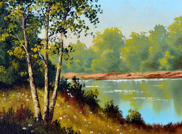 Unknown Serene Lakeside Landscape Painting For Sale At