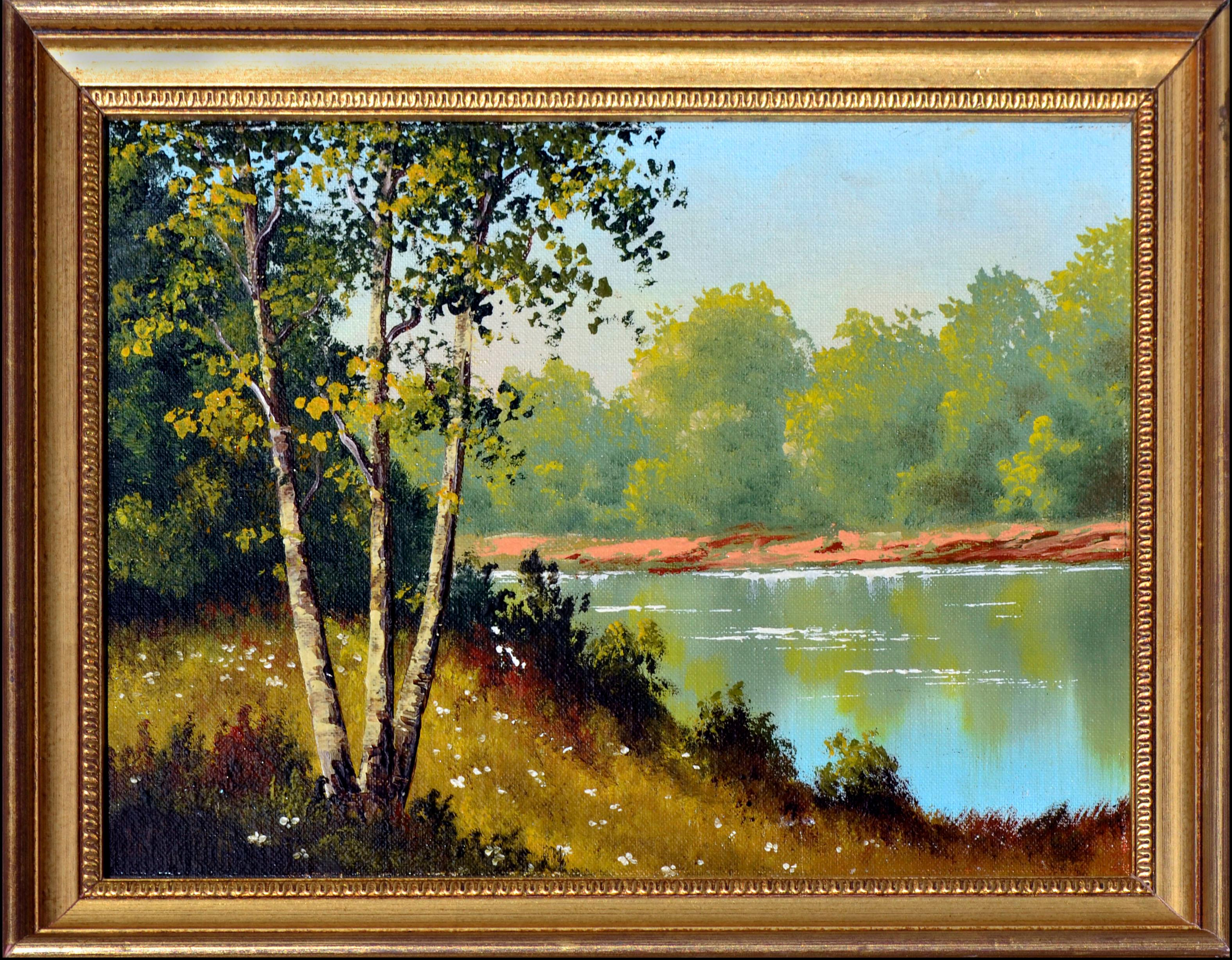 Mid Century Serene Lakeside Landscape