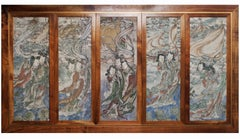 Set of 5 Chinese Ming Dynasty Fresco Panels ex. Private collection from 1936
