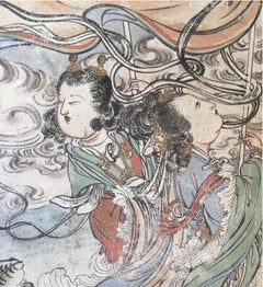 Set of 5 Ming Dynasty Fresco Panels ex. Private Collection circa 1930s