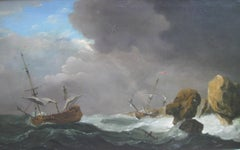 'Ships in Distress' 18th Century Old Master Marine Seascape oil on canvas c1750