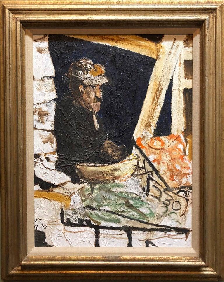 Shuk Machane Yehuda Jerusalem Market Israeli Oil Painting - Beige Figurative Painting by Unknown