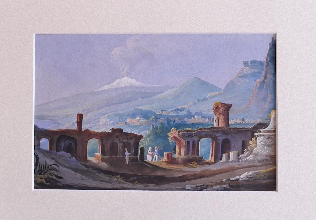 Sicilian Landscape with Aetna on the Background - Gouache - Early 20th Century