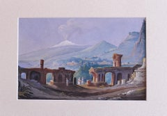 Sicilian Landscape with Aetna non the Background - Gouache - Early 20th Century