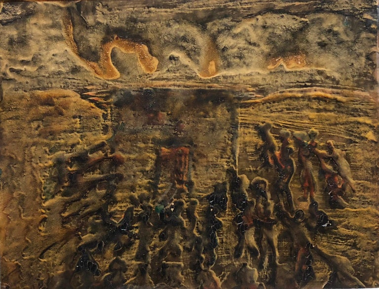Signed Castro Abstract Expressionist 1960s Latin American Oil Painting Collage For Sale 3