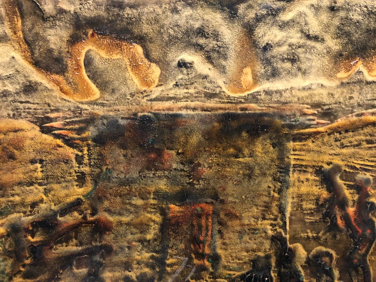 Signed Castro Abstract Expressionist 1960s Latin American Oil Painting Collage For Sale 6
