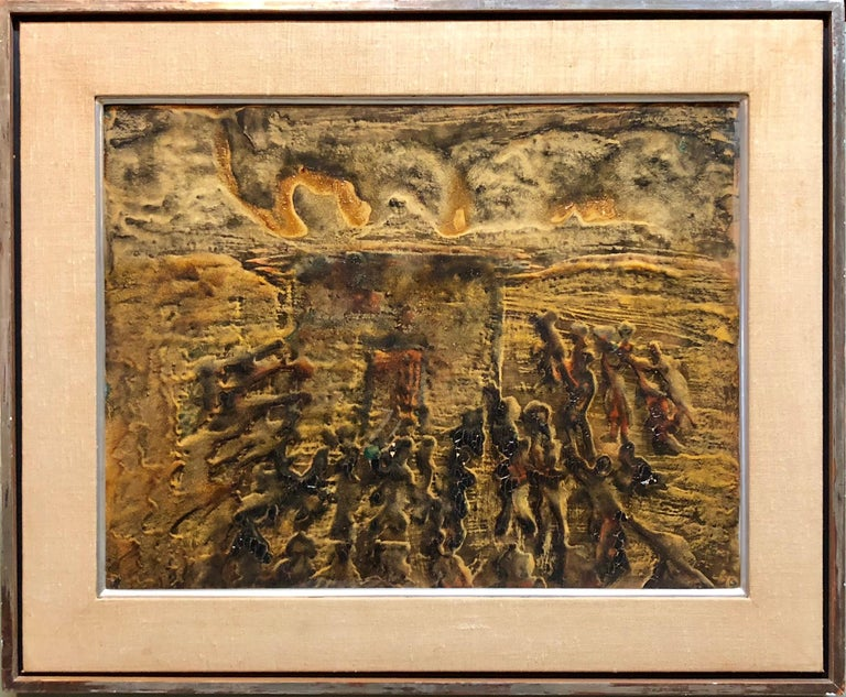 Unknown Abstract Painting - Signed Castro Abstract Expressionist 1960s Latin American Oil Painting Collage