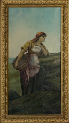 Signed & Framed 19th Century Oil - Portrait of a Fisherwoman